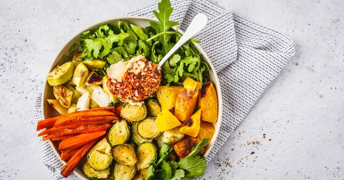 BAKED BRUSSELS SPROUTS WITH SWEET POTATO