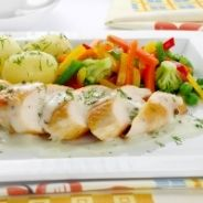 Chicken breast with young beans recipe