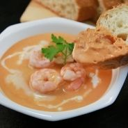 Risotto with bisque, Asiago fondue and prawns recipe