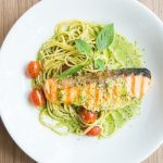 Salmon with sauteed vegetables