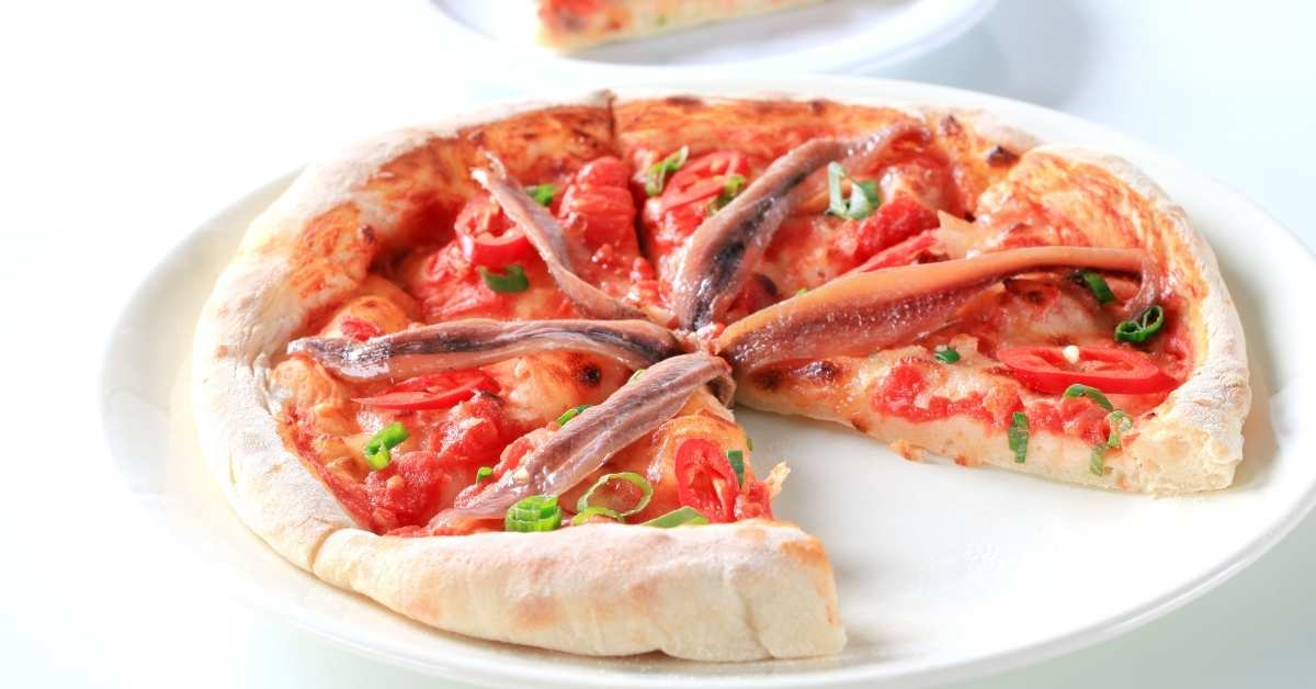 Pizza with anchovies and capers